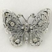 Butterfly Brooch with clear rhinestone Pleated with antique silver Width 1-7/8 inches x Height 1.50 inches