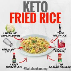ETO FRIED RICE Here is a delicious recipe for Keto Fried Rice by @ruledme! . CALORIES/MACROS This makes a total of 2 servings of Keto