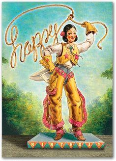 Happy Birthday Cowgirl by Cartolina Cards: Modern Paper Goods Happy Birthday Cowgirl, Free Happy Birthday Cards, Happy Birthday Vintage, Happy Birthday Best Friend, Happy Birthday Greetings, Birthday Fun, Happy Birthdays, Sister Birthday, Birthday Ideas