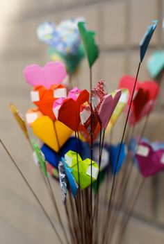 I Heart You Origami Hearts Bouquet by MyBohemianSummer on Etsy
