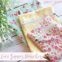 Lace Zipper Pouches - Tutorial by Lindsey Weight for FWFS