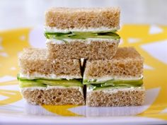 Cucumber and cream cheese sandwiches - perfect tea party snacks!