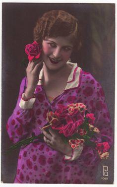 Hand Tinted Vintage Postcards | ... postcard - Girl with flowers - Antique - Vintage hand tinted postcard