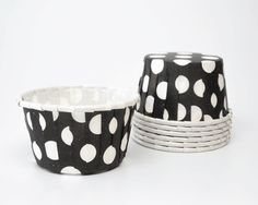 Black and White Large Polka Dot Candy Cups