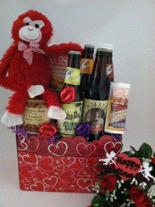 I've Gone Ape Over You Gift Basket by The Frederick Basket Company with our Doodle Hearts Gift Basket Box. www.boxcoindustries.com