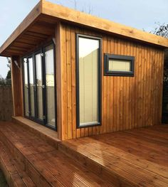 x garden room clad in honey spruce with a French door set. From including installation and VAT. Backyard Buildings, Backyard Sheds, Arched Cabin, Craft Shed, Shed To Tiny House, Patio Bar Set, Garden Office, Backyard Office, Pub Set