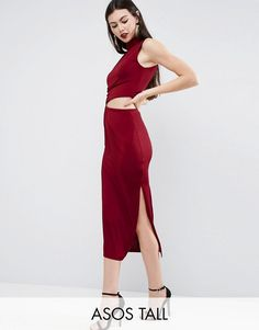Get this Asos Tall's midi dress now! Click for more details. Worldwide shipping. ASOS TALL Slinky High Neck Twist Knot Midi Dress - Red: Tall dress by ASOS TALL, Smooth slinky fabric, High neck, Twist knotted side, Cut-out waist detail, Side split, Slim fit - cut close to the body, Machine wash, 95% Polyester, 5% Elastane, Our model wears a UK 8/EU 36/US 4 and is 180cm/5'11 tall, Midi dress length between: 115-125cm. Find fresh wardrobe wins with our ASOS TALL edit. Raise your…
