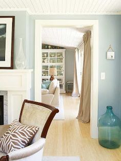 """Beautiful palate for a coastal cottage, including beach-glass blue, white, and natural fiber """"flax""""."""