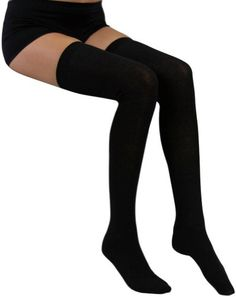 $4.98 Thigh Hi Stocking Above Knee Above Knee - Black: Clothing