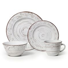 This Pfaltzgraff Trellis White Dinnerware Set is a clean and simple design that complements any contemporary table setting. Stoneware pieces in coupe shapes feature a modern linen texture wit Farmhouse Dinnerware Sets, Stoneware Dinnerware Sets, Casual Dinnerware, White Dinnerware, Tableware, Dinnerware Ideas, Farmhouse Dinner Plates, Kitchenware, Farmhouse Decor
