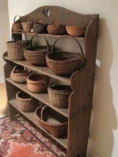 Early Country Antiques by jenniferET Old Baskets, Vintage Baskets, Wicker Baskets, Woven Baskets, Picnic Baskets, Primitive Furniture, Primitive Antiques, Primitive Country, Primitive Decor