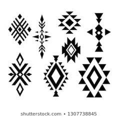 Aztec Tribal Shapes Symbols Collection Vector Stock Vector (Royalty Free) 1307738845 Similar Images, Stock Photos & Vectors of Navajo print, Aztec pattern, Tribal design elements - 482420068 Pattern Drawing, Pattern Art, Pattern Design, Navajo Pattern, Design Design, Tribal Print Pattern, Aztec Prints, Design Ideas, Native American Patterns