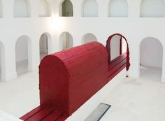 Anish Kapoor: SVAYAMBH, 2007, sculptural installation with wax and oil-based paint, dimensions variable. Installation view at Musée des Beaux-Arts, Nantes. Photo by Cécile Clos.