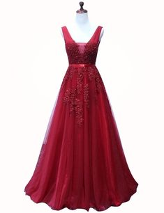 A-line V-neck Floor-length Burgundy Tulle Homecoming Dress with Appliques Beading