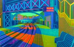 First Light at Farringdon - Linocut by Gail Brodholt  RE