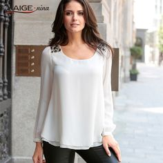 Blouse Women 2016 new Top Full Sleeves Office Shirt Women fashion o-neck Tops Plus Size Casual pure colour Female Clothing 98026