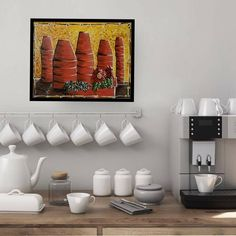 Stacked Pots, Gerber Daisies, Acrylic Canvas, Clay Pots, Light And Shadow, Blue Flowers, My Etsy Shop, Painting, Artists
