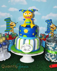 Darling cake at a Henry Hugglemonster Birthday Party!  See more party ideas at CatchMyParty.com!