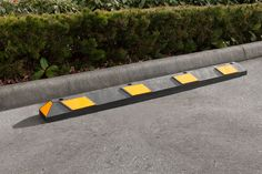 The R-2006 parking stop increases parking lot safety by preventing vehicle intrusion onto curbs, pedestrian zones, gardens, and other sensitive areas. Parking stop placement encourages safer, more predictable driving. To learn more, visit: http://www.reliance-foundry.com/traffic-safety-supplies/parking-stops/r-2006-parking-stop-yellow-black
