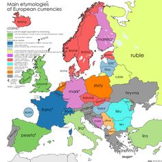 Currency names in European countries (before the Euro was introduced) - from zoom-maps European Languages, European Countries, History Timeline, Alternate History, Historical Maps, Country, World History, Economics, Flags