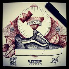 #vans #offthewall #fuckswag #vansoldskool #pentagram #flash #draw #ink #inked #candles #diamond #drawings #tattoo #drawing #blackscale #art #cross #shoes