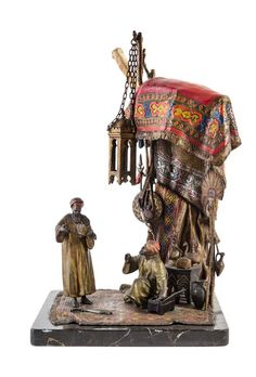 An Austrian Cold Painted Bronze Figural Lamp ANTON CHOTKA (1875-1925)  The Jewelry Seller
