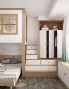 Small Room Design Bedroom, Small House Interior Design, Bedroom Closet Design, Girl Bedroom Designs, Home Room Design, Room Ideas Bedroom, Kids Room Design, Bedroom Decor, Space Saver Bedroom