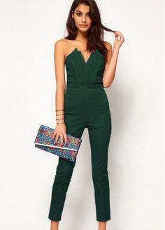 Green jumpsuit.