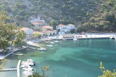 Frikes is a fishing village at the north coast of Ithaca, located where once was the homeric harbor Rithros. Beautiful Islands, Beautiful Places, North Coast, Fishing Villages, Greek Islands, Greece Travel, Travelling, Boat, Holiday
