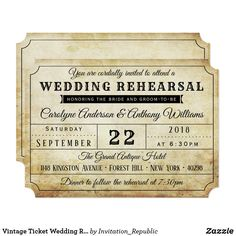 Vintage Ticket Wedding Rehearsal Dinner Invitation 60% off