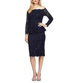 Alex Evenings Petite Lace Off-the-Shoulder Long Sleeve Peplum Sheath Dress