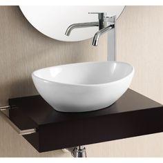 Bathroom Sink, Caracalla CA4047, Oval White Ceramic Vessel Bathroom Sink CA4047