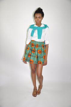 Le Mini-African Laura imprimer 100 % Hollande cire coton Mini jupe