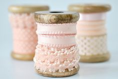 pretty pink ribbon on wooden spools Lace Ribbon, Fabric Ribbon, Ribbon Embroidery, Diy Ribbon, Deco Rose, Wooden Spools, My Sewing Room, Just Peachy, Sewing Notions