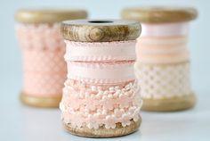 pretty pink ribbon on wooden spools Lace Ribbon, Fabric Ribbon, Ribbon Embroidery, Diy Ribbon, Deco Rose, Wooden Spools, My Sewing Room, Just Peachy, Craft Materials