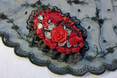 Red black victorian style brooch necklace pendant hair accessory unique hand made textile art with ribbon embroidery rose for romantic lady by Virvi on Etsy