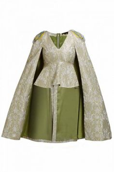 Ivory and gold embroidered cape peplum top