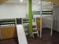 Gyerekágy kombináció csúszdával, szekrény aláépítéssel - Loft bed combination with slide and built in wardrobe