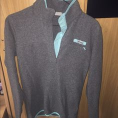 Columbia PFG pullover Grey/teal Columbia PFG pullover. Sz. XS. Almost brand new, worn once. Will accept offers  Columbia Sweaters Crew & Scoop Necks
