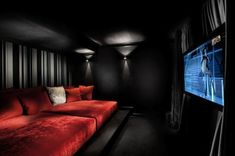 SMALL SCALE HOME THEATER ROOM~ Finally I get RED couches!! Only if I can add a red velvet curtain on both sides of the screen too.... :) #hometheateraccessories