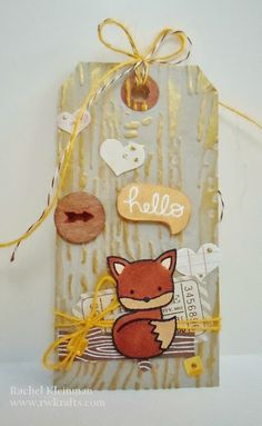 Lawn Fawn - Into the Woods _ cute gold highlighted tag by Rachel! RWKrafts: Hello, Foxy