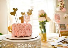 Feminine Pink and Gold First Birthday Party - Project Nursery