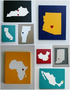 """I'm not super crafty, but this is a great idea. """"Places You've Called Home"""" canvas wall hangings. With instructions."""