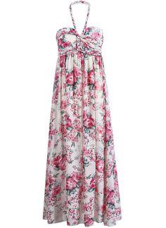 Vestido gasa plisado floral Halter-crudo y rojo