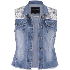 ccea1a7411cb0 maurices Plus Size - Crochet Top Denim Vest With Pockets ( 28) found on  Polyvore
