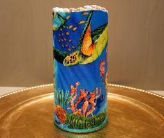 LED Pillar Candle With Sea Turtles, Seahorses, Coral, Seashells, Starfish And More by DontForgetTheFlowers on Etsy Flameless Candles, Pillar Candles, Seashells, Starfish, Wrapping Paper Bows, Sea Turtle Decor, Seahorse Decor, Seahorses, Sea Turtles