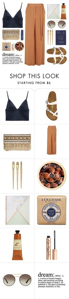 """""""Rachel"""" by thenewgirl3 ❤ liked on Polyvore featuring T By Alexander Wang, Birkenstock, Skemo, TIBI, Passport, The Body Shop, L'Occitane, Crabtree & Evelyn, Charlotte Tilbury and Prada"""