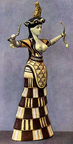 Love the artwork o this.  Minoan Snake Goddess from Knossos, Crete. c. 1600 BCE