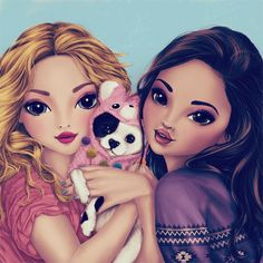 Recolor Gallery in 2019 Best Friend Drawings, Girly Drawings, Kawaii Drawings, Princess Drawings, Best Friend Pictures, Bff Pictures, Best Friend Wallpaper, Girly M, Cute Girl Wallpaper