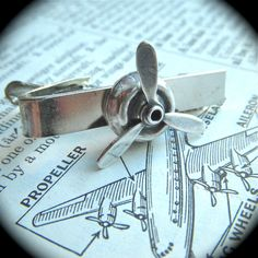 Tie Clip Propeller Steampunk Men's Accessories & Gifts Silver Plated Metal Really Spins. $15.00, via Etsy.